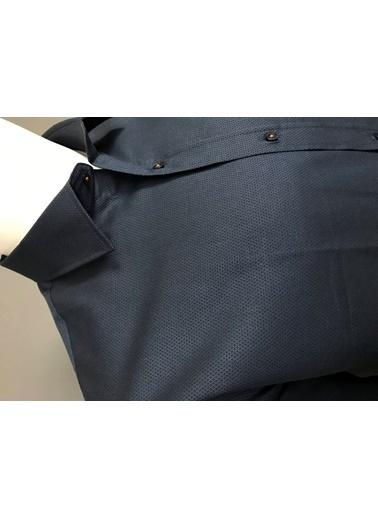 Abbate Klasık Yaka Armürlü Regular Fıt Ceplı Gömlek Lacivert